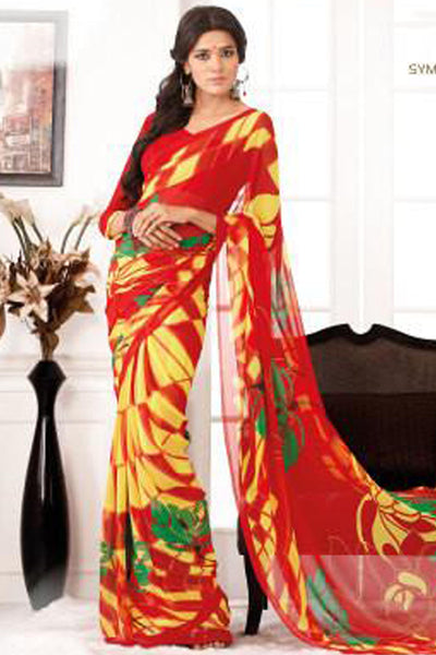 Comely Faux Georgette Saree In Red - 3264 - click to zoom