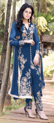 Designer Straight Cut!:atisundar ravishing Blue Designer Straight Cut  - 7628 - atisundar - 1 - click to zoom