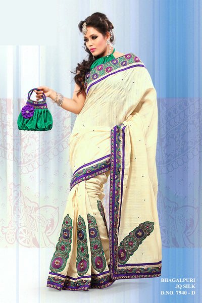 Gorgeous Bhagalpuri Silk Saree In Cream - atisundar - 2 - click to zoom