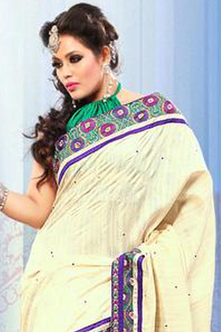 Gorgeous Bhagalpuri Silk Saree In Cream