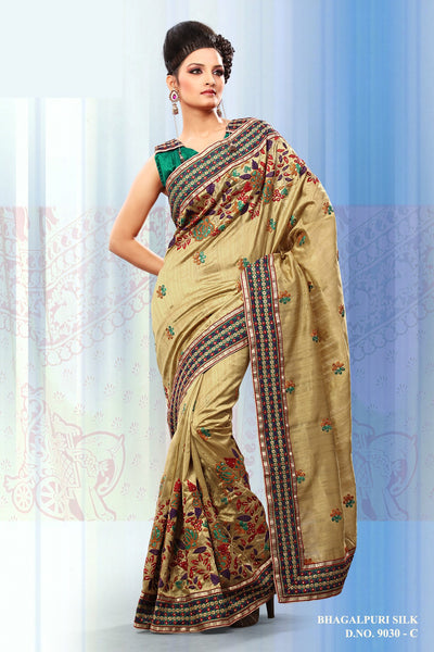 Beauteous Golden Rust Colored Embroidery Saree - atisundar - 2 - click to zoom