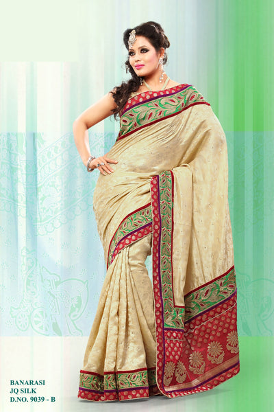 Smart Cream Colored Embroidery Saree - click to zoom
