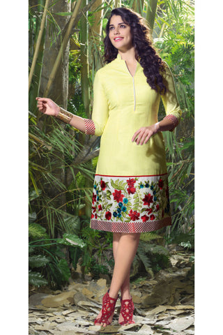 Designer Partywear Tops:atisundar divine Linen Designer Embroidered Party wear Top in Yellow-6877