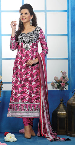 Designer Printed Pakistani Style Suits in Glaze Cotton:atisundar delicate Pink And White Designer Printed Unstitched Suits - 6461 - atisundar - 3 - click to zoom