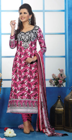 Designer Printed Pakistani Style Suits in Glaze Cotton:atisundar delicate Pink And White Designer Printed Unstitched Suits - 6461 - atisundar - 1 - click to zoom