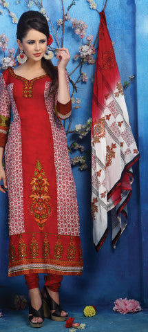 Designer Printed Pakistani Style Suits in Glaze Cotton:atisundar Charismatic Maroon And White Designer Printed Unstitched Suits - 6465 - atisundar - 1 - click to zoom
