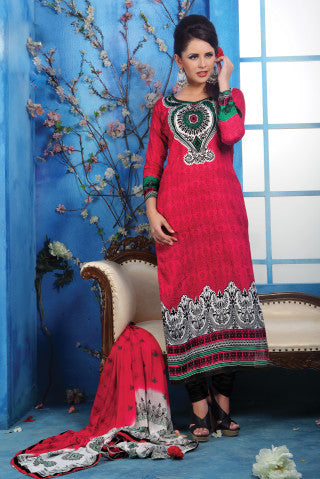 Designer Printed Pakistani Style Suits in Glaze Cotton:atisundar Charismatic Pink Designer Printed Unstitched Suits - 6467 - atisundar - 1 - click to zoom