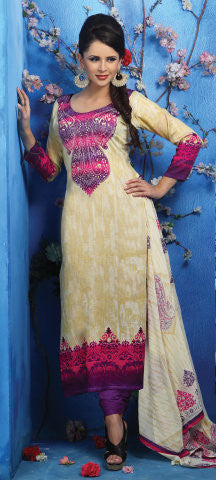 Designer Printed Pakistani Style Suits in Glaze Cotton:atisundar resplendent Musturd And Pink Designer Printed Unstitched Suits - 6468 - atisundar - 1 - click to zoom