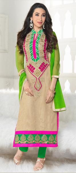 The Karishma Kapoor Collection:atisundar Beautiful Cream Designer Straight Cut Embroidered Suits - 6606 - click to zoom