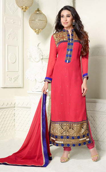 The Karishma Kapoor Collection:atisundar elegant Pink Designer Straight Cut Embroidered Suits - 6721 - atisundar - 2 - click to zoom