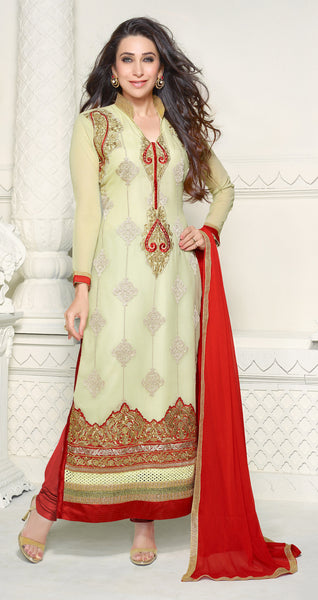 The Karishma Kapoor Collection:atisundar Attractive Cream Designer Straight Cut Embroidered Suits - 6725 - click to zoom