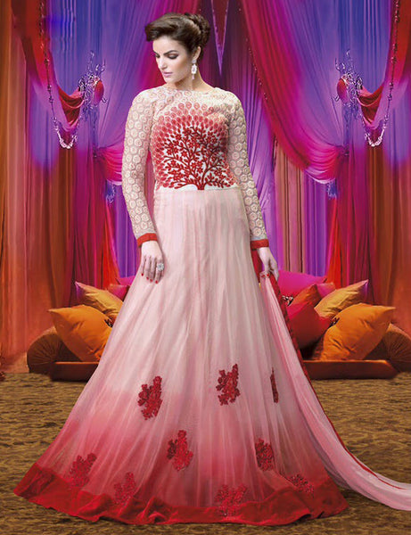 Designer Embroidered Suits:atisundar excellent Red And White Anarkali - 7851 - atisundar - 2 - click to zoom
