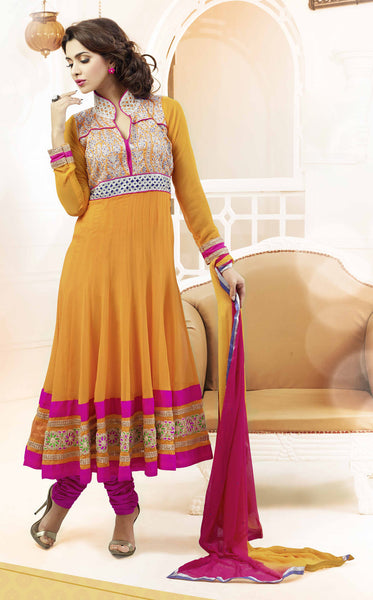 Designer Embroidered Suits:atisundar graceful Brown Anarkali - 7832 - click to zoom