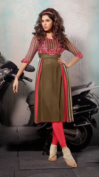 Designer Tops:atisundar fascinating Faux Georgette Designer Tops in Peach And Green - 9345 - atisundar - 2 - click to zoom