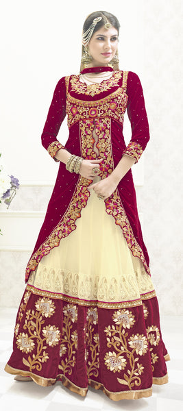 Festive Favorite:atisundar marvelous Premium Soft Net Designer Embroidered Lehenga in Maroon - 5620 - click to zoom