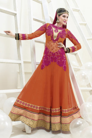 Designer Partywear Semistitched Anarkali:atisundar Beautiful Shanaya Anarkali Collection in Orange - 5282 - atisundar - 1 - click to zoom