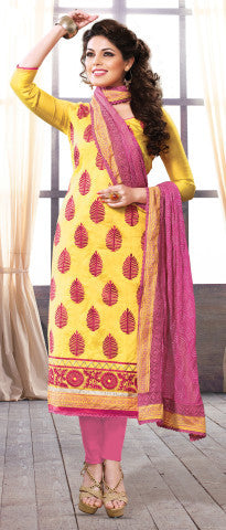 Designer Straight Cut:atisundar dazzling Yellow Straight Cut Designer Wear - 6027 - atisundar - 1 - click to zoom