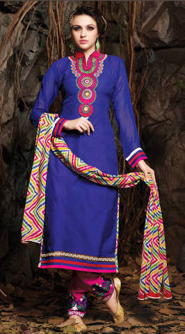Embroidered Chanderi Cotton Suits:atisundar comely Blue Embroidered Straight Cut in Chanderi - 6611 - atisundar - 1 - click to zoom