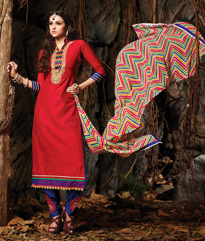 Embroidered Chanderi Cotton Suits:atisundar refined Red Embroidered Straight Cut in Chanderi - 6616 - atisundar - 3 - click to zoom
