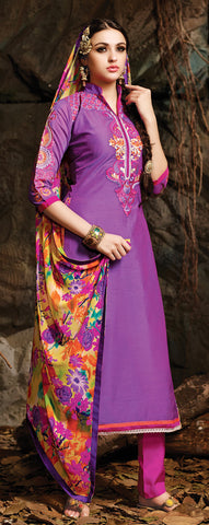 Embroidered Chanderi Cotton Suits:atisundar beauteous Purple Embroidered Straight Cut in Chanderi - 6621 - atisundar - 3 - click to zoom