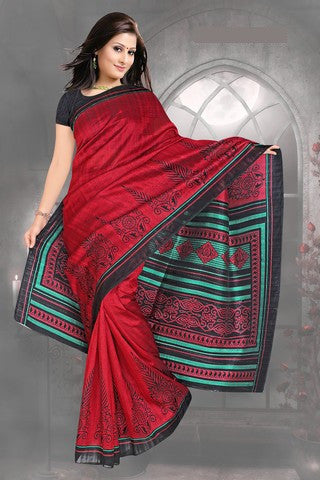 Beautiful Red Colored Print Saree - atisundar - 2 - click to zoom