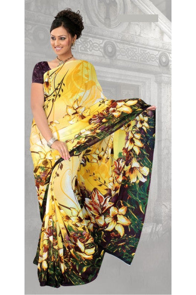 Awesome Chiffon Saree In Yellow - click to zoom