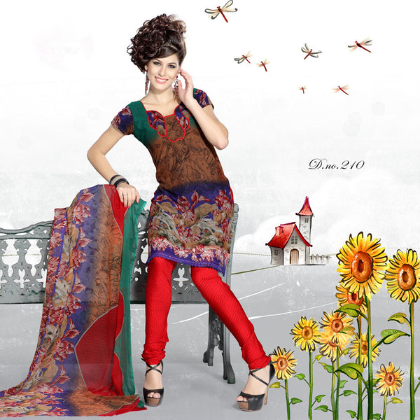 Stunning Print Brown Unstitched Salwar Kameez By atisundar - 3191 - atisundar - 3 - click to zoom