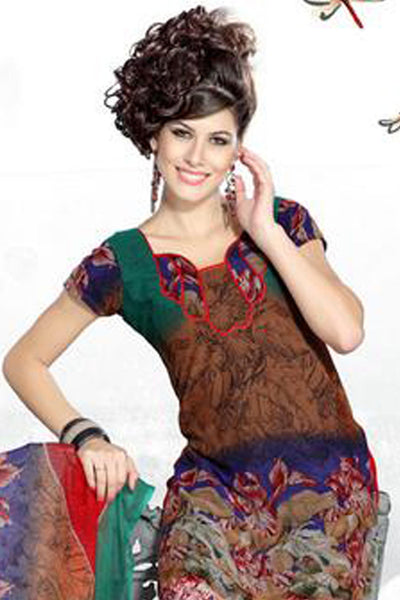 Stunning Print Brown Unstitched Salwar Kameez By atisundar - 3191 - click to zoom