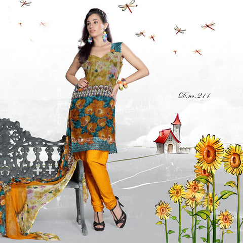 atisundar Mrinal: Lovely Unstitched Salwar Kameez In Orange - 3179 - atisundar - 3 - click to zoom