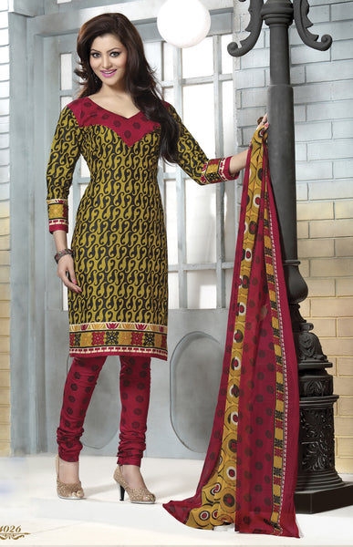 Designer Collection in Pure Cotton Featuring Urvashi Rautela:atisundar pretty Pure Cotton Pure Cotton Designer Printed unstitched Suit in Yellow - 6562 - atisundar - 2 - click to zoom