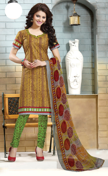 Designer Collection in Pure Cotton Featuring Urvashi Rautela:atisundar excellent Yellow Pure Cotton Designer Printed unstitched Suit - 6576 - atisundar - 2 - click to zoom
