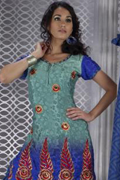atisundar Vaijayantimala: Admirable Unstitched Embroidery Salwar Kameez - 3164 - click to zoom