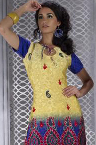 Magnificent Embroidery Yellow Unstitched Salwar Kameez By atisundar - 3166