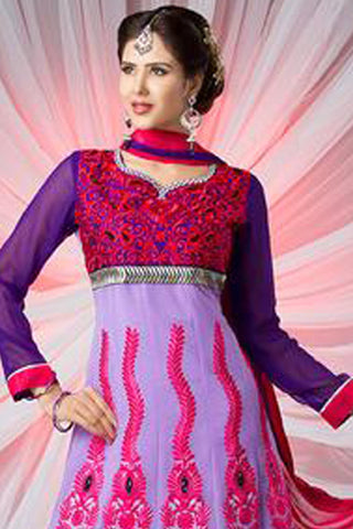 Beautiful Embroidery Purple Unstitched Salwar Kameez By atisundar - 2894