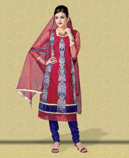 atisundar Poornima: Marvelous Unstitched Salwar Kameez In Red - 2909 - atisundar - 3 - click to zoom