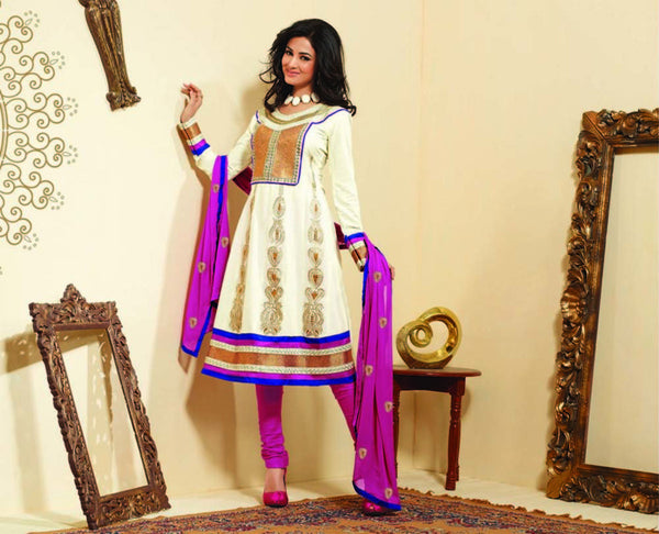 atisundar Surama: Splendid Unstitched Salwar Kameez In Cotton - 3033 (featuring Sonal Chauhan) - atisundar - 3 - click to zoom