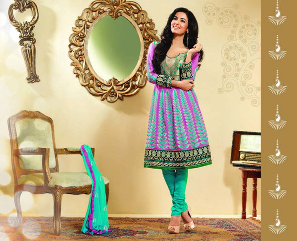atisundar Sananda: Exquisite Unstitched Salwar Kameez In Pink - 3036 (featuring Sonal Chauhan) - click to zoom