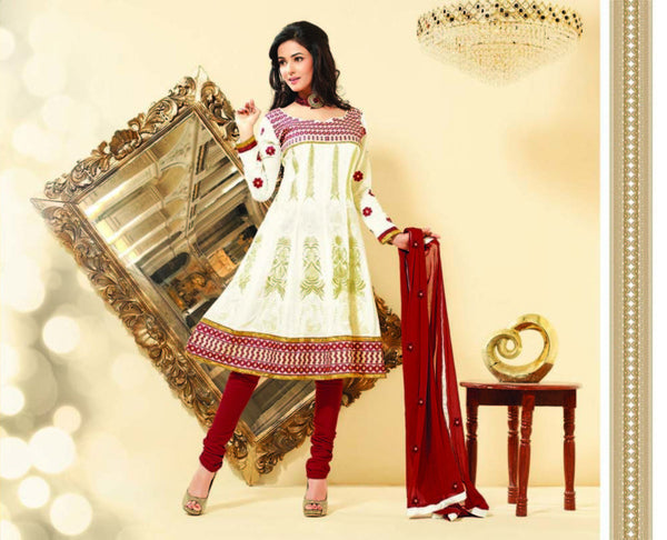 Sonal Chauhan in a Smart Embroidery Off-White Unstitched Salwar Kameez By atisundar - 3035 - click to zoom