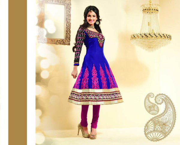 Fair Embroidery Blue Unstitched Salwar Kameez By atisundar - 3037 (featuring Sonal Chauhan) - atisundar - 2 - click to zoom