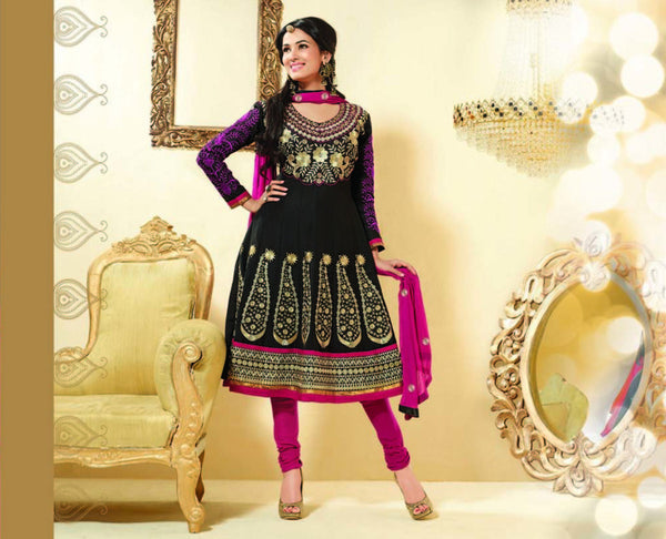 Sonal Chauhan in an Admirable Embroidery Black Unstitched Salwar Kameez By atisundar - 3032 - atisundar - 3 - click to zoom