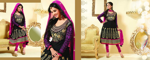 Sonal Chauhan in an Admirable Embroidery Black Unstitched Salwar Kameez By atisundar - 3032 - atisundar - 4 - click to zoom