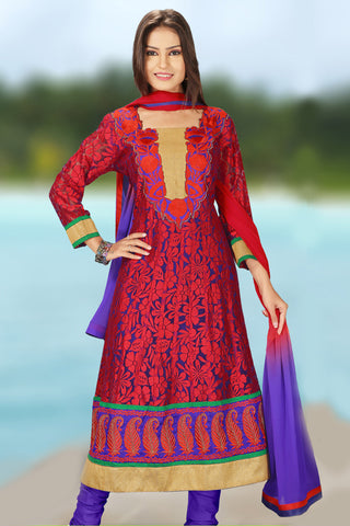 Designer Anarkali:atisundar graceful Red Designer Embroidered Anarkali - 10688 - atisundar - 1 - click to zoom