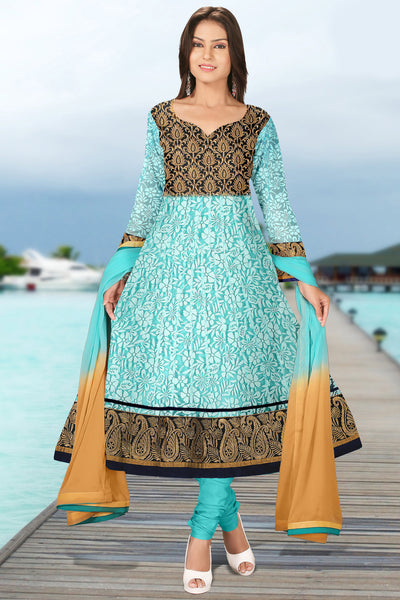 Designer Anarkali:atisundar Lovely Sea Green Designer Embroidered Anarkali - 10690 - atisundar - 1 - click to zoom