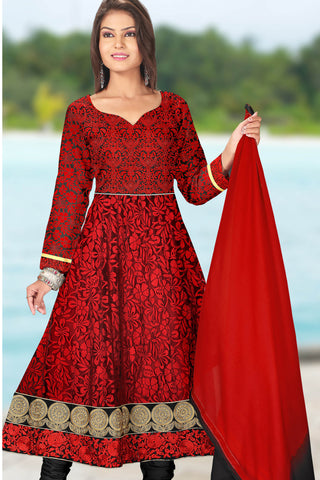 Designer Anarkali:atisundar radiant Red Designer Embroidered Anarkali - 10687 - atisundar - 1 - click to zoom