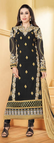 Designer Party Wear Straight Cut Suits:atisundar Beautiful 60 Gm Georgette Designer Party Wear Straight Cut Suits In Faux Georgette in Black - 5826 - atisundar - 1 - click to zoom
