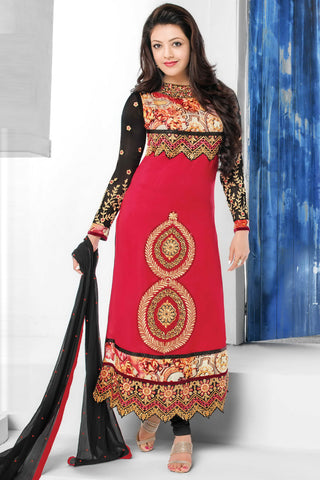 Designer Straight Cut:atisundar comely Maroon Designer Embroidered Straight Cut - 10651 - atisundar - 1 - click to zoom