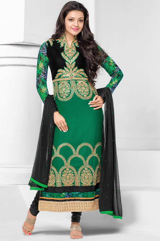 Designer Straight Cut:atisundar Beautiful Dark Green Designer Embroidered Straight Cut - 10656 - atisundar - 1 - click to zoom