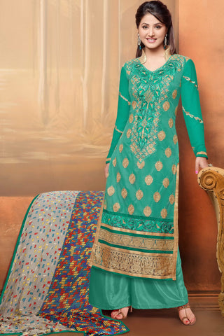 Designer Straight Cut:atisundar elegant Rama Green Designer Embroidered Straight Cut - 10644 - atisundar - 1 - click to zoom