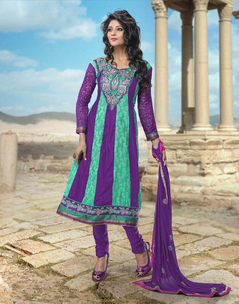 atisundar Sarani: Alluring Unstitched Salwar Kameez In Violet and Green - 3007 - atisundar - 2 - click to zoom