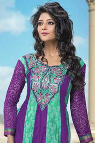 atisundar Sarani: Alluring Unstitched Salwar Kameez In Violet and Green - 3007 - click to zoom